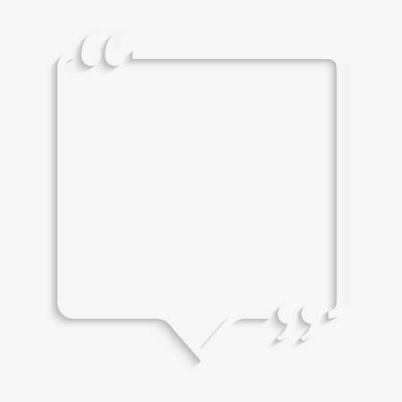 Vector Speech Bubble Quote Blank Template. Empty Quote Template. Business Quote Card Template, Information, Text. Quote Form. Bracket. Sending, Direct Speech. Stock fotó