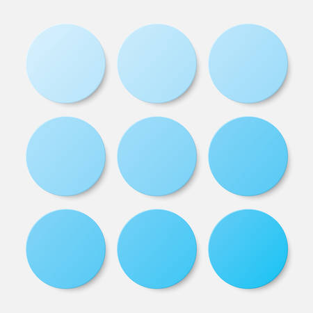 Nine Blue Circles Button. Circle Banner. Illustration