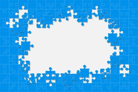Blue Background Puzzle. Jigsaw Puzzle Frame. Ilustração