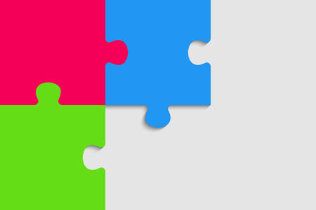 Colorful Puzzle Four Piece Presentation. Rectangle Infographic. 3 Steps Process Diagram Card. Section Compare Service Banner. Background. Rectangle Puzzles Pieces.