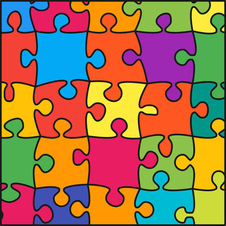 Colorful Background Puzzle. Jigsaw Puzzle Banner.