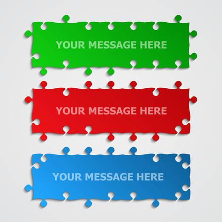 3 buntes Stück Puzzle Rechteck Banner. Puzzle-Schild. Stücke Puzzles Hintergrund. Plattenpuzzle. Brettstücke aufbewahren. Informationsdesign. Jigsaw Shop Schild. Rechteck-Poster. Schaufenster-Rätsel.