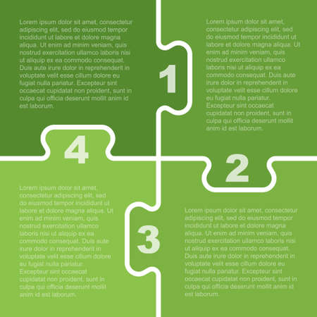 Four Green Pieces Puzzle Infographic Presentation. 4 Steps Puzzle Square Business Diagram. Four Section Compare Service Banner. Vector Illustration Template Shape. Jigsaw Card. Puzzle Pieces.