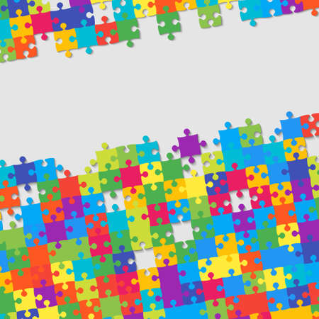Colorful Background Puzzle. Jigsaw Puzzle Banner. Vector Illustration Template Shape. Abstract Puzzle Background. Puzzle Game Mosaic Mosaic Tiles. Puzzles. Colorful Pieces. Frame. Background.