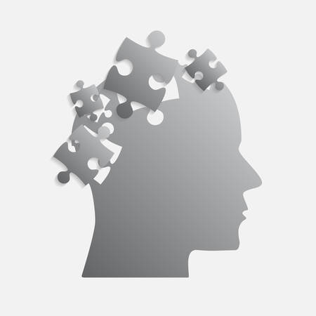 Grey Puzzle Piece Silhouette Head - Vector Illustration. Jigsaw Puzzle Blank Template. Vector Puzzle Object. Information Puzzle Design. Intellect, Brain, Thought, Head, Idea. Иллюстрация