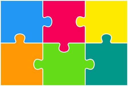 Presentación colorida del rompecabezas de cuatro piezas. Infografía de rectángulo. Tarjeta de diagrama de proceso de 6 pasos. Banner de servicio de comparación de sección. Antecedentes. Piezas de rompecabezas rectangulares. Foto de archivo - 106878760