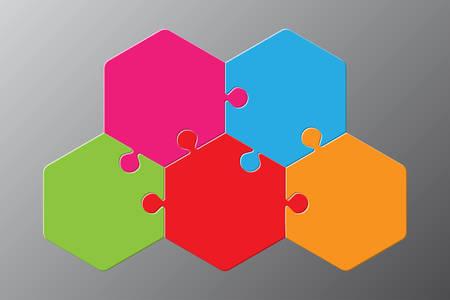 Schema esagonale puzzle a cinque pezzi. Esagono Puzzle Presentazione aziendale Infografica. Diagramma del processo del puzzle in 5 fasi. Sezione Confronta Banner. Jigsaw Puzzle Infografica.