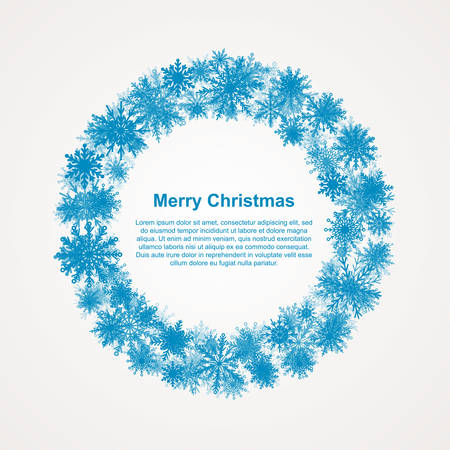 Festive Wreath with Snowflakes. New Year and Christmas Frame for Text Greeting Card. White Circle Ornaments with Wreath Decoration of Snowflakes. White Snowflake Wreath Winter Season. Snow Banner.