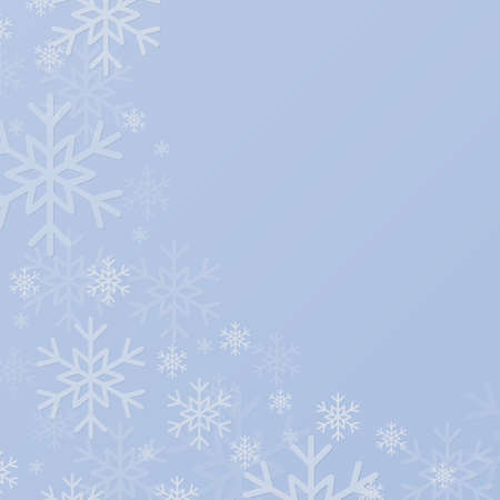 Blue Cover, Poster, Card, Banner or Background with Snowflakes. Design in Merry Christmas and Happy New Year Style with Winter Snow. Happy Holidays. Square Format. Winter and Snow Background. 矢量图像