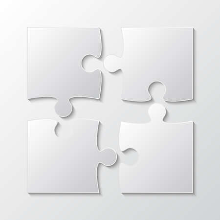 Four White Piece Jigsaw Puzzle. Four Section.