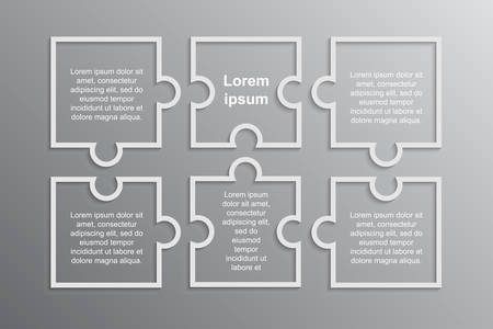 White Puzzle Four Piece Business Presentation. Infographics. Square 6 Steps Process Diagram Card. Section Compare Service Banner. Background. Rectangle Puzzle Pieces. Puzzle Assembling Puzzle.