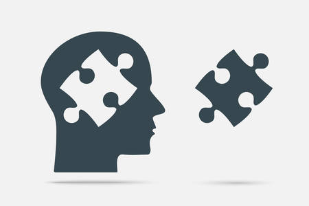 Grey Puzzle Piece Silhouette Head - Vector Illustration. Jigsaw Template. Vector Puzzle Object. Information Puzzle Design. Intellect Brain Thought, Head, Idea. Puzzle Head. Pieces in Head.