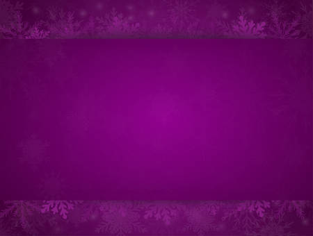 Purple Cover, Poster, Card, Banner or Background with Snowflakes. Design in Merry Christmas and Happy New Year Style with Winter Snow. Happy Holidays. Horizontal Format. Winter and Snow Background.