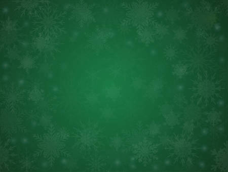 Green Cover, Poster, Card, Banner or Background with Snowflakes. Design in Merry Christmas and Happy New Year Style with Winter Snow. Happy Holidays. Horizontal Format. Winter and Snow Background. 矢量图像