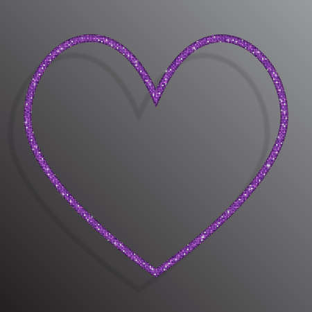 The Heart Banner of Purple Sequins Background.