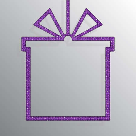 Shopping Box Banner of Purple Sequins Background.