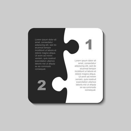 Two Pieces Puzzle Infographics Presentation. 2 Steps Square Diagram. Black White Section Compare Service Puzzle Banner. Vector Illustration Template Shape. Jigsaw Card. Double Pieces Puzzle.