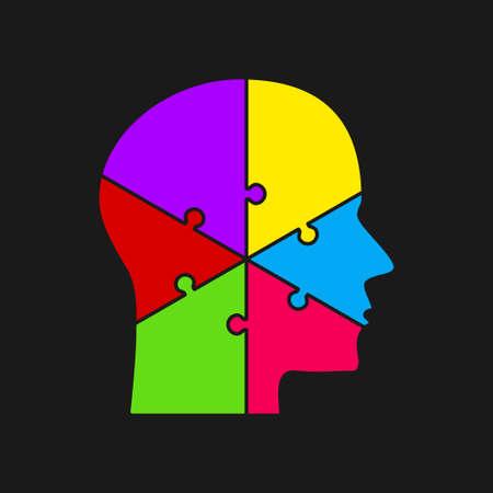 Puzzle Pieces. Silhouette Brain Head. Six Steps.