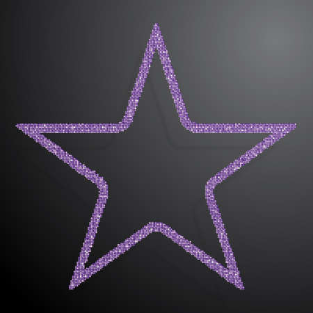 The Star Banner of Purple Sequins Background.