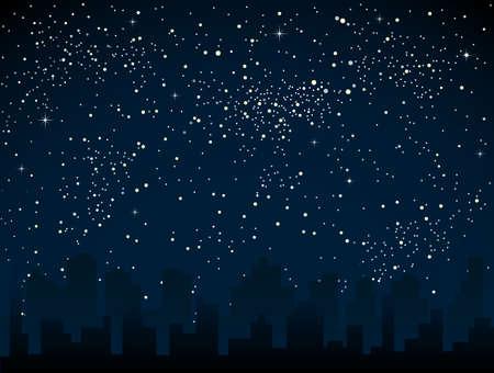 Realistischer Sternenhimmel mit blau leuchtenden Sternen. Standard-Bild