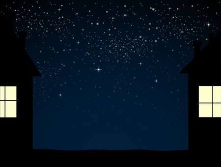 Realistic Starry Sky with Blue Glow Shining Stars.