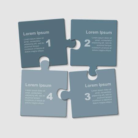 Puzzle vier Teile Schritte Teile für die Präsentation. Standard-Bild