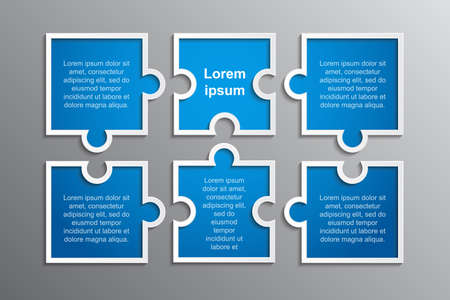 The Puzzle Infographics. Jigsaw Six Steps Puzzle. Stock Photo