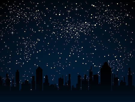 Realistic Starry Sky with Blue Glow. Shining Stars Dark Sky. Background, Wallpaper. Night Sky, Dark Blue Outer Space with Bright Stars. Shining Stars in Space. Night Houses, Street, Town, City. Çizim