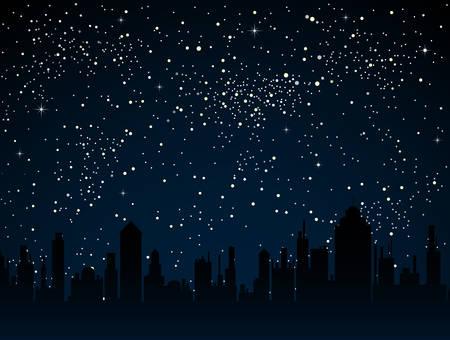 Realistischer Sternenhimmel mit blauem Glühen. Glänzende Sterne dunklen Himmel. Hintergrund, Tapete. Nachthimmel, dunkelblauer Weltraum mit hellen Sternen. Leuchtende Sterne im Weltraum. Nachthäuser, Straße, Stadt, Stadt.