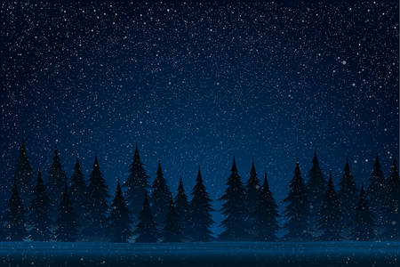 Dark Starry Blue Night with Falling Snow. White Splash on Blue Background. Winter Snowfall. Forest During a Snow Storm at Night. Christmas Trees. Snow, Forest, Night. 向量圖像