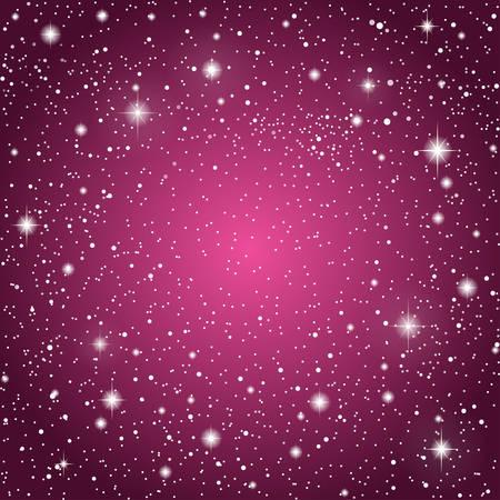 Realistic Starry Sky with Purple Glow. Shining Stars Dark Sky. Background, Wallpaper. Night Sky, Dark Purple Outer Space with Bright Stars. Shining Stars in Space. Dark Night Sky Stars. Illustration