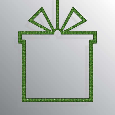 Shopping Box Banner a Green Sequins Background.