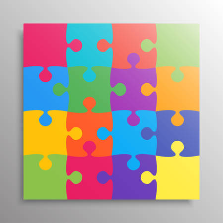 Colorful Pieces Background Puzzle. Jigsaw Banner. Vector Illustration Template. Puzzle Game, Mosaic Tiles. Puzzles Pieces Children Background. Children Puzzle. Stock Illustratie