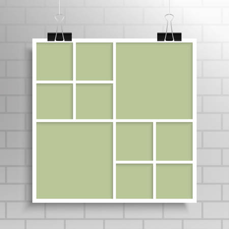 Templates Collage Ten Frames for Photo or Illustration. Vector Frame for Photos, Pictures, Photo Collage, Photo Puzzle. Board Branding Presentation. Creative Theme. Moodboard. 10 Photos. Illustration