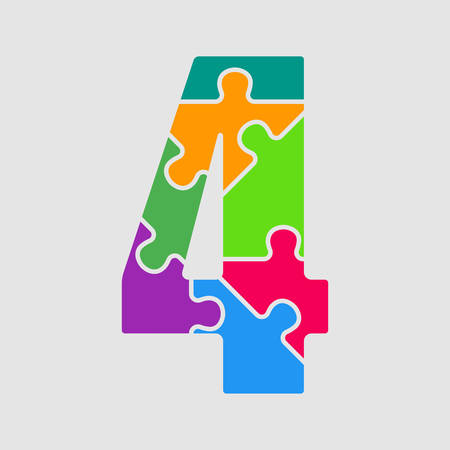 Vector Puzzle Jigsaw Figure or Number - 4. Gigsaw made of Colored Puzzle Pieces - Vector Illustration. Puzzle Font, Type, Alphabet, Figeres. Creative Toy Alphabet. Web Design and Graphic Vector.