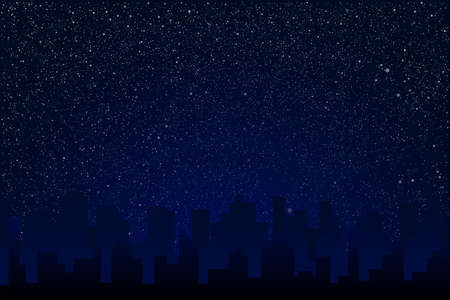 Starry Sky. Shining Stars. Night Town, City. Stock Photo