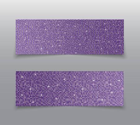 Banner Purple Sequins Background. Mosaic Sequins Glitter Sparkle, Stars, Glow. Disco Party Background with Shiny Purple Paillettes. Blank Empty Magazine, Book, Booklet, Flyer. Horizontal Booklet. Illusztráció