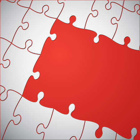 The Red Background Puzzle of Jigsaw Puzzle.