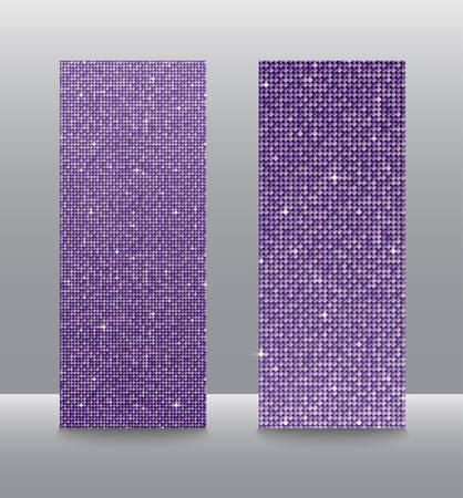 Banner Purple Sequins Background. Mosaic Sequins Glitter Sparkle, Stars, Glow. Disco Party Background with Shiny Purple Paillettes. Blank Empty Magazine, Book, Booklet, Flyer. Vertical Booklet.