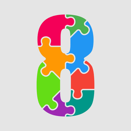 Vector Puzzle Jigsaw Figure or Number - Eight. Gigsaw made of Colored Puzzle Pieces - Eight Vector Illustration. Puzzle Font, Type, Alphabet, Figeres. Creative Toy Alphabet. Web Design and Graphic Vector. Vektorové ilustrace