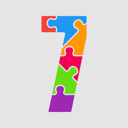 Vector Puzzle Jigsaw Figure or Number - 7. Gigsaw made of Colored Puzzle Pieces - Seven Vector Illustration. Puzzle Font, Type, Alphabet, Figeres. Creative Toy Alphabet. Web Design and Graphic Vector. Illustration