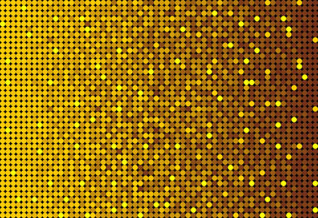 Banner Gold Sequins Background. Mosaic, Sequins Glitter Sparkle, Stars, Glow. Disco Party Background with Shiny Paillettes. Dot Glitter Texture. Disco Golden Banner.