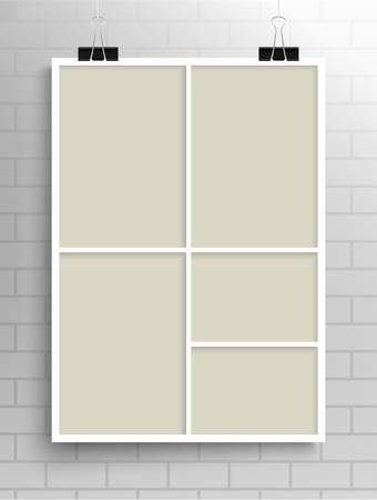 Templates Collage Five Frames for Photo or Illustration. Vector Frame for Photos, Pictures, Photo Collage, Photo Puzzle. Board Branding Presentation. Creative Theme. Moodboard. Five Photos.