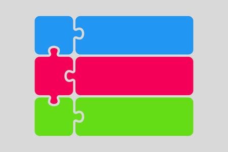 Presentación de infografía de rompecabezas de tres piezas de color. Diagrama de negocio cuadrado de rompecabezas de 3 pasos. Colorido banner de rompecabezas de servicio de comparación de cuatro secciones. Forma de plantilla de ilustración vectorial. Tarjeta de rompecabezas.