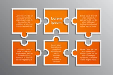 Presentazione di affari di pezzi di puzzle. Infografica quadrata. Diagramma di processo a 6 fasi rettangolo. Banner di servizio di confronto di sezione. Sfondo. Pezzi di puzzle. Puzzle di montaggio. Marketing.