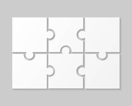 6 White Puzzle Pieces - JigSaw. Vector Illustration Puzzle for Web Design. Vector Object Shape. Business Presentation. Information Design. Puzzles Pieces. 6 Pieces for Infographics.