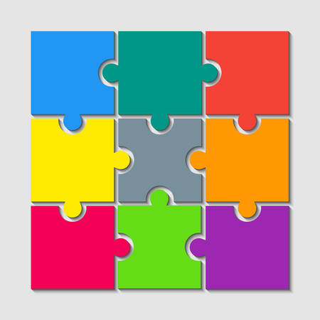 9 Color Puzzle Pieces - JigSaw. Vector Illustration Puzzle for Web Design. Vector Object Shape. Business Presentation. Information Design. Puzzles Pieces. 9 Pieces for Infographics.