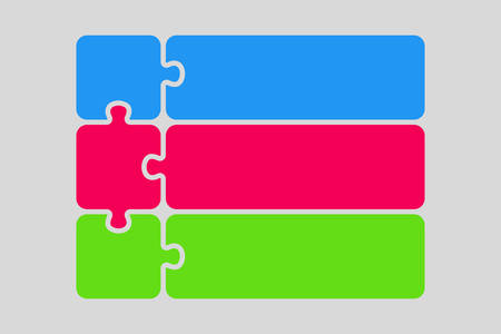 Three Color Piece Puzzle Infographic. Three Steps.