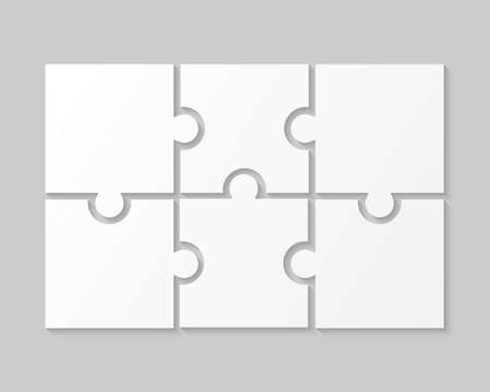 White Puzzle Pieces JigSaw Six Steps Infographic.