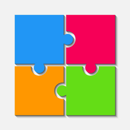 Color Puzzle Pieces JigSaw Four Steps Infographic. Reklamní fotografie